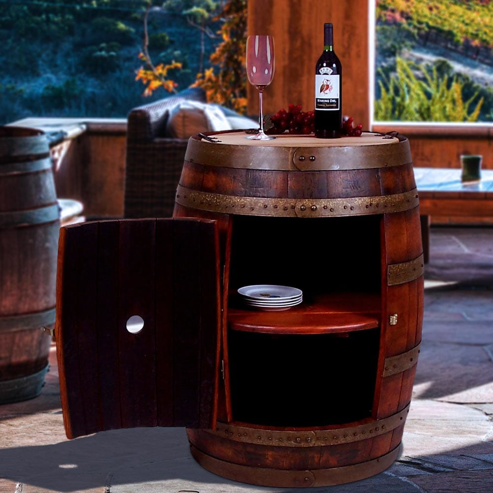 Recycled wine barrel cabinet
