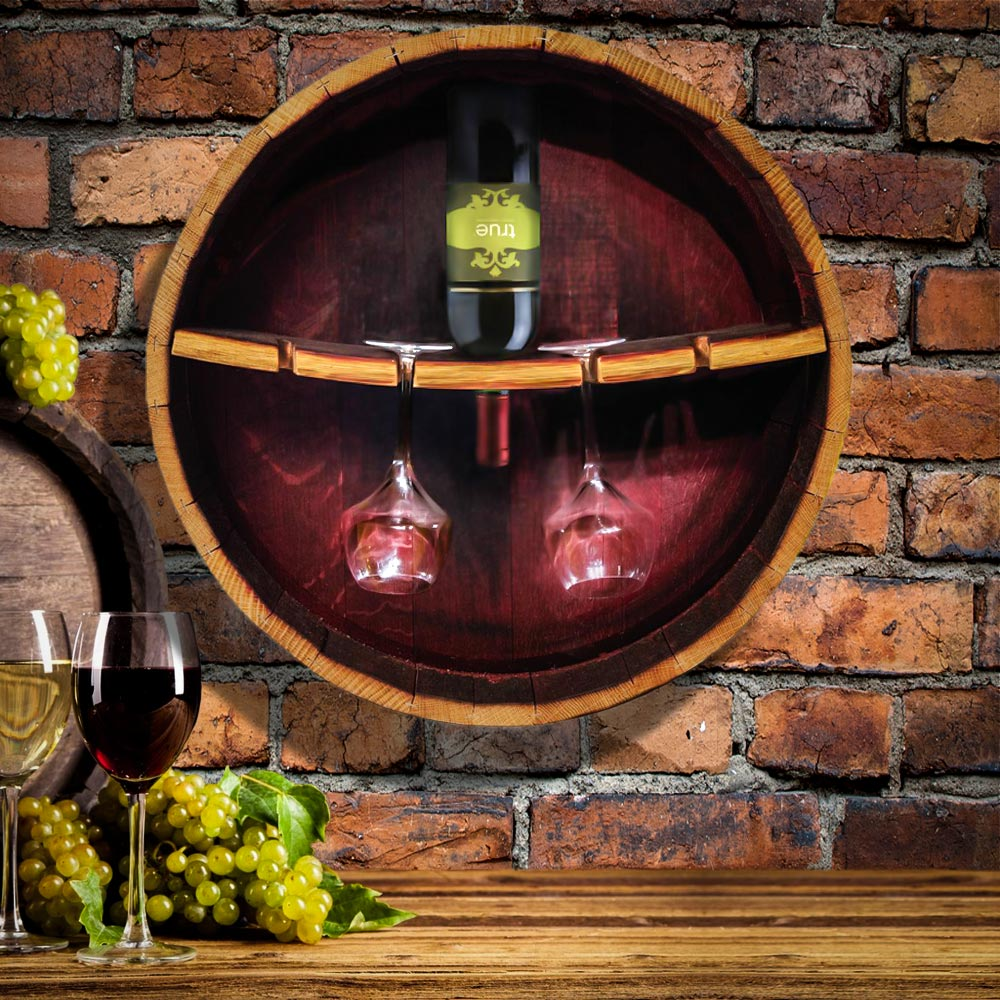 recycled wine barrel turned into a wine bottle and stemware rack for home decor