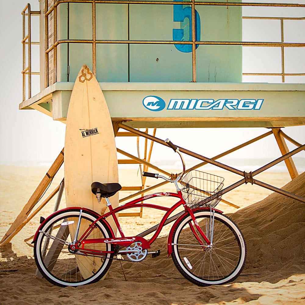 Mens Tahiti Beach Cruiser Bike in Red